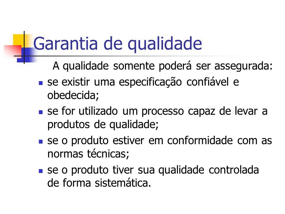Garantia de qualidade qualidade especificada é o nível de qualidade requerida qualidade assegurada é o nível de qualidade que técnicas, ferramentas, m