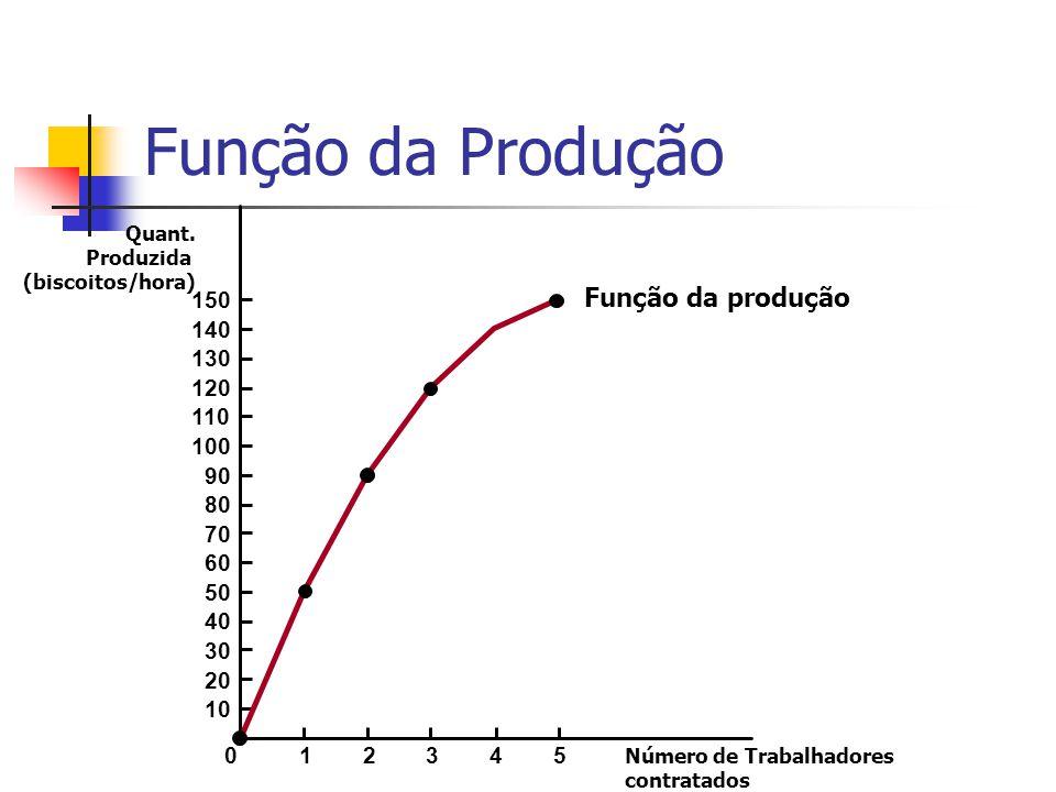 Função da Produção A função de produção mostra a relação entre a quantidade de insumos utilizados para produzir um bem, e a quantidade produzida desse