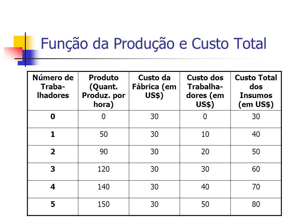 Função da Produção à Curva de Custo Total A relação entre a quantidade que a empresa pode produzir e os seus custos determinam os preços a serem cobra