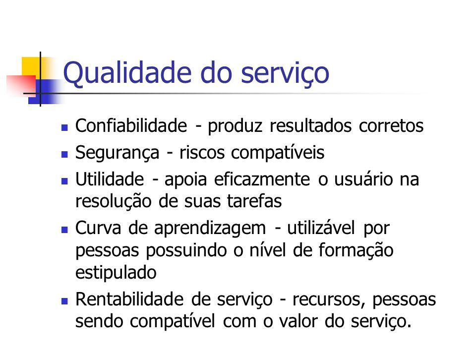 Dimensões da Qualidade Custo - custos intermediários e final do produto / serviço.