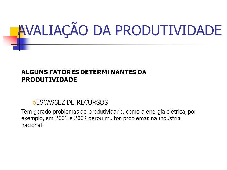ALGUNS FATORES DETERMINANTES DA PRODUTIVIDADE oRELAÇÃO CAPITAL X TRABALHO Indica o nível de investimentos em máquinas, equipamentos e instalações em r