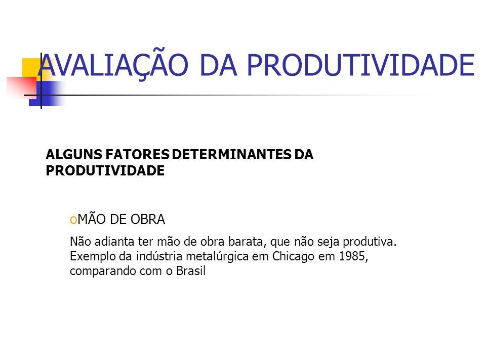 ALGUNS FATORES DETERMINANTES DA PRODUTIVIDADE oESCASSEZ DE RECURSOS Tem gerado problemas de produtividade, como a energia elétrica, por exemplo, em 20