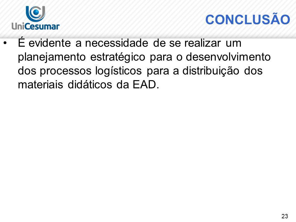 23 CONCLUSÃO É evidente a necessidade de se realizar um planejamento estratégico para o desenvolvimento dos processos logísticos para a distribuição d
