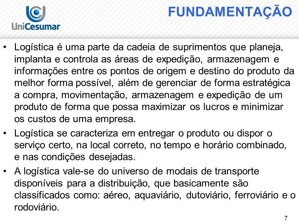 7 FUNDAMENTAÇÃO Logística é uma parte da cadeia de suprimentos que planeja, implanta e controla as áreas de expedição, armazenagem e informações entre