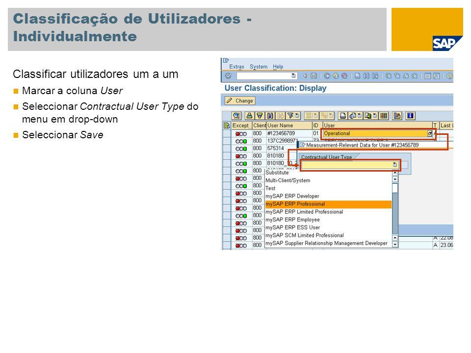 Classificação de Utilizadores - Individualmente Classificar utilizadores um a um Marcar a coluna User Seleccionar Contractual User Type do menu em dro