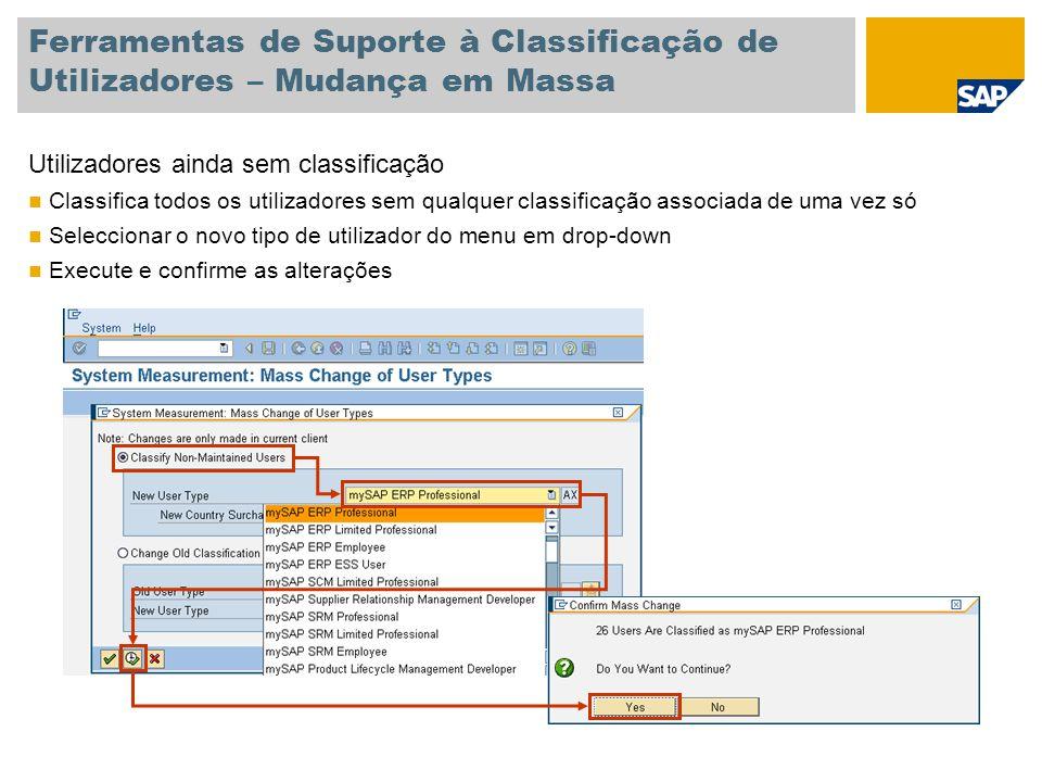 Ferramentas de Suporte à Classificação de Utilizadores – Mudança em Massa Utilizadores ainda sem classificação Classifica todos os utilizadores sem qu