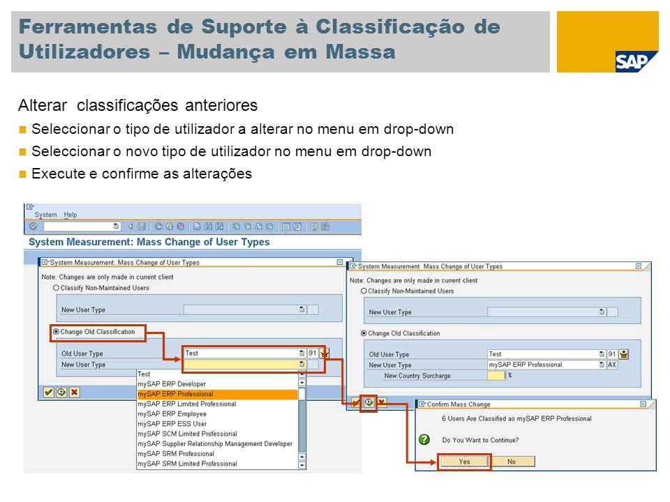 Ferramentas de Suporte à Classificação de Utilizadores – Mudança em Massa Alterar classificações anteriores Seleccionar o tipo de utilizador a alterar