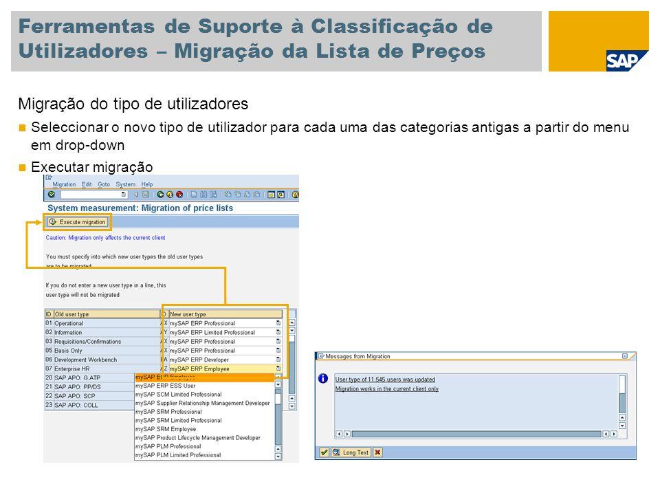 Ferramentas de Suporte à Classificação de Utilizadores – Migração da Lista de Preços Migração do tipo de utilizadores Seleccionar o novo tipo de utili