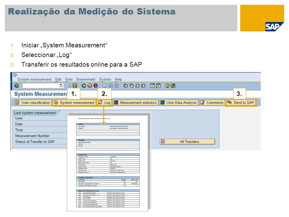 """Realização da Medição do Sistema 1. Iniciar """"System Measurement"""" 2. Seleccionar """"Log"""" 3. Transferir os resultados online para a SAP 1.2.3."""