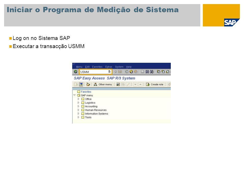 Iniciar o Programa de Medição de Sistema Log on no Sistema SAP Executar a transacção USMM
