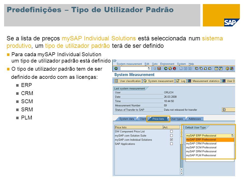 Predefinições – Tipo de Utilizador Padrão Se a lista de preços mySAP Individual Solutions está seleccionada num sistema produtivo, um tipo de utilizad