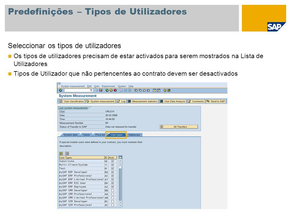 Predefinições – Tipos de Utilizadores Seleccionar os tipos de utilizadores Os tipos de utilizadores precisam de estar activados para serem mostrados n