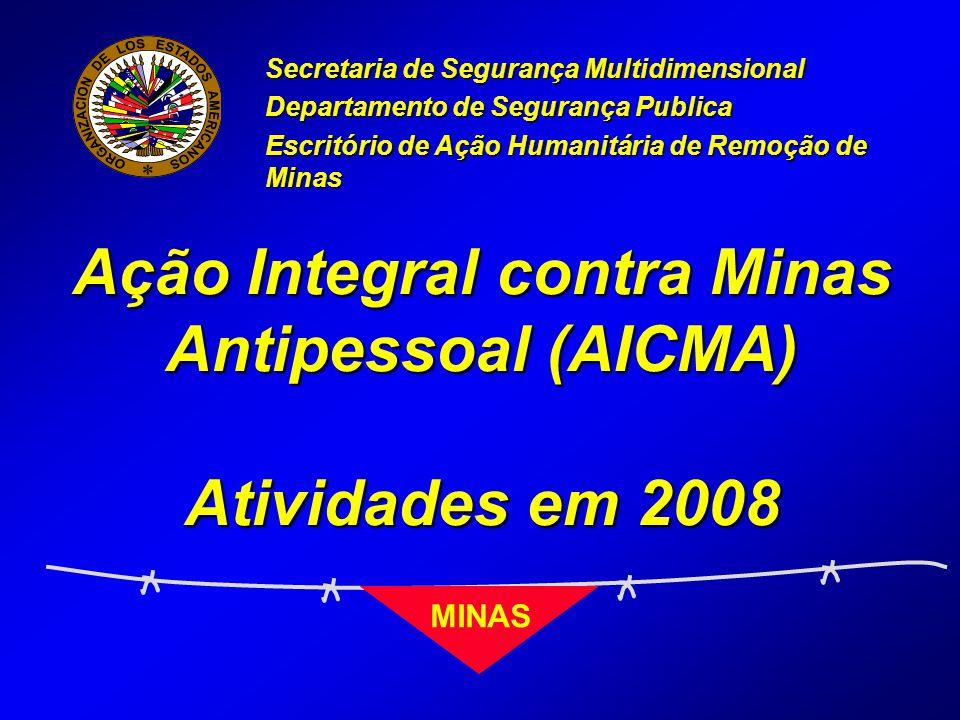Ação Integral contra Minas Antipessoal (AICMA) Atividades em 2008 Secretaria de Segurança Multidimensional Departamento de Segurança Publica Escritório de Ação Humanitária de Remoção de Minas MINAS