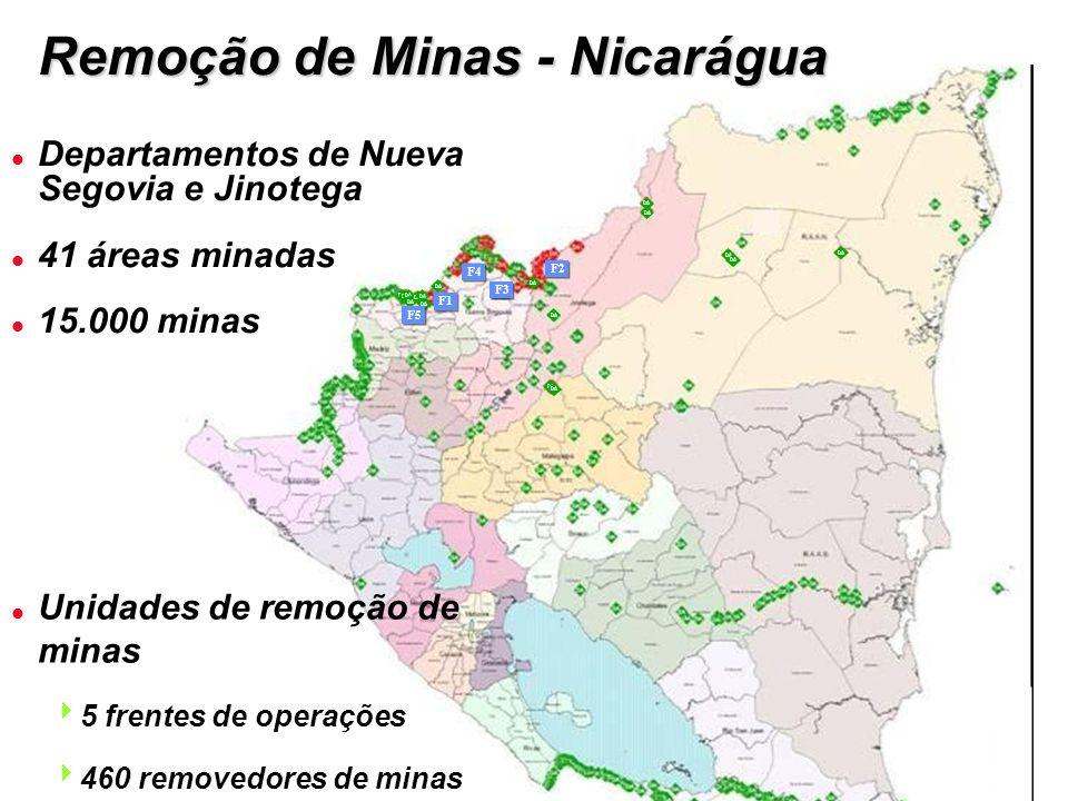 DA F5 F1 F3 F4 F2 l Unidades de remoção de minas  5 frentes de operações  460 removedores de minas Remoção de Minas - Nicarágua l Departamentos de Nueva Segovia e Jinotega l 41 áreas minadas l 15.000 minas