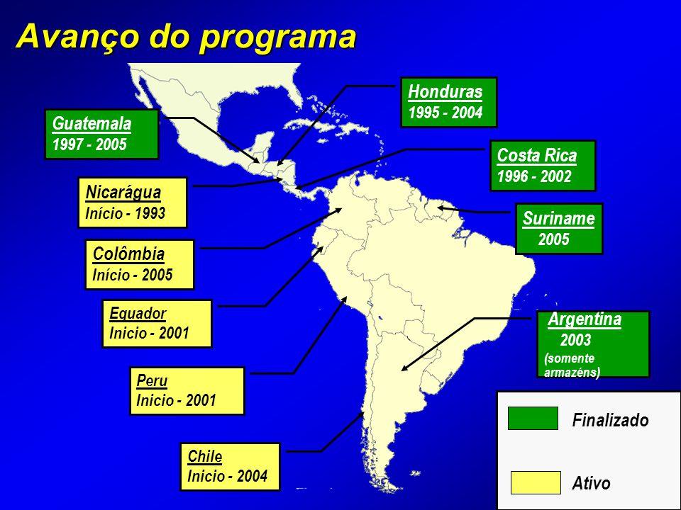 Avanço do programa Peru Inicio - 2001 Equador Inicio - 2001 Costa Rica 1996 - 2002 Suriname 2005 Nicarágua Início - 1993 Guatemala 1997 - 2005 Honduras 1995 - 2004 Finalizado Ativo Chile Inicio - 2004 Colômbia Início - 2005 Argentina 2003 (somente armazéns)
