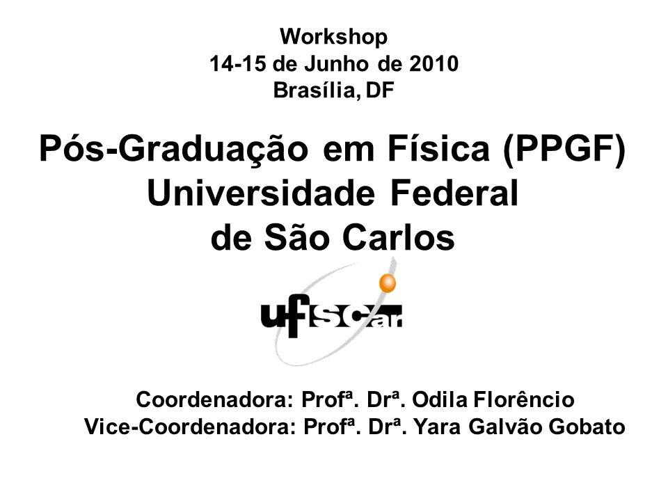 Pós-Graduação em Física (PPGF) Universidade Federal de São Carlos Coordenadora: Profª.