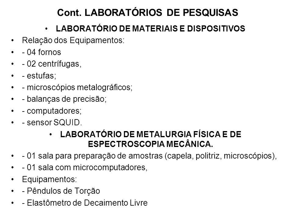 Cont. LABORATÓRIOS DE PESQUISAS LABORATÓRIO DE MATERIAIS E DISPOSITIVOS Relação dos Equipamentos: - 04 fornos - 02 centrífugas, - estufas; - microscóp