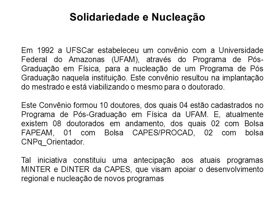 Solidariedade e Nucleação Em 1992 a UFSCar estabeleceu um convênio com a Universidade Federal do Amazonas (UFAM), através do Programa de Pós- Graduação em Física, para a nucleação de um Programa de Pós Graduação naquela instituição.