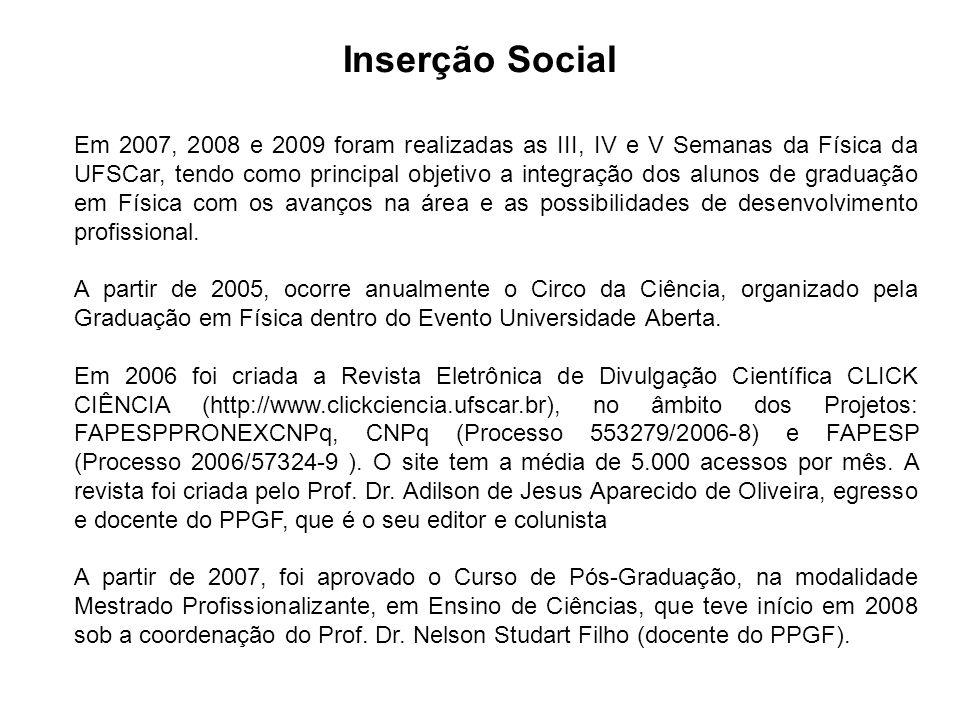 Inserção Social Em 2007, 2008 e 2009 foram realizadas as III, IV e V Semanas da Física da UFSCar, tendo como principal objetivo a integração dos alunos de graduação em Física com os avanços na área e as possibilidades de desenvolvimento profissional.