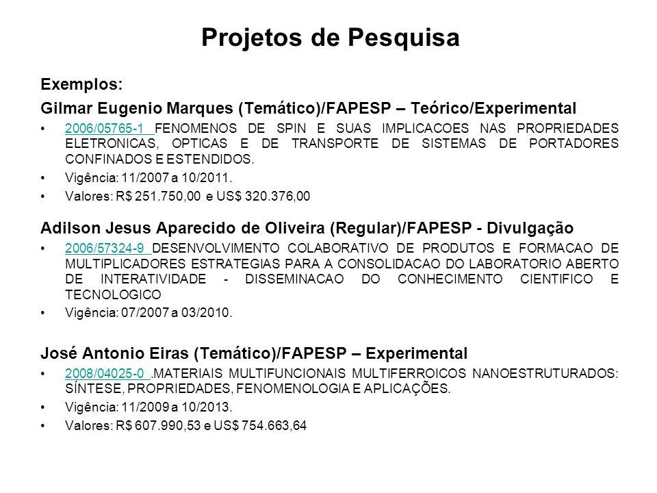 Projetos de Pesquisa Exemplos: Gilmar Eugenio Marques (Temático)/FAPESP – Teórico/Experimental 2006/05765-1 FENOMENOS DE SPIN E SUAS IMPLICACOES NAS PROPRIEDADES ELETRONICAS, OPTICAS E DE TRANSPORTE DE SISTEMAS DE PORTADORES CONFINADOS E ESTENDIDOS.2006/05765-1 Vigência: 11/2007 a 10/2011.