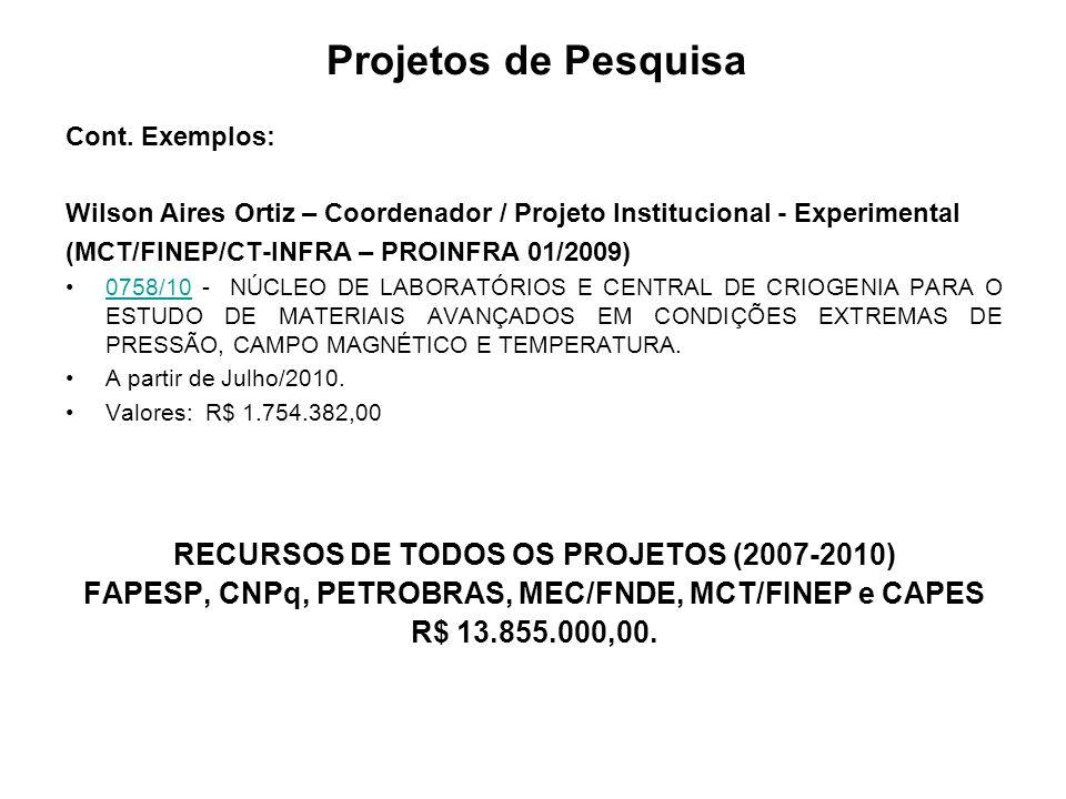 Projetos de Pesquisa Cont.