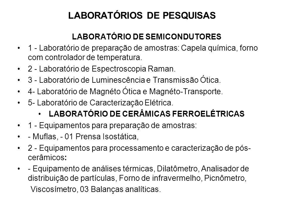 LABORATÓRIOS DE PESQUISAS LABORATÓRIO DE SEMICONDUTORES 1 - Laboratório de preparação de amostras: Capela química, forno com controlador de temperatur