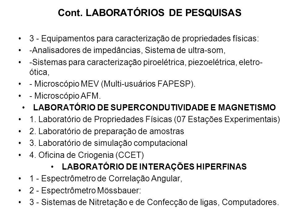 Cont. LABORATÓRIOS DE PESQUISAS 3 - Equipamentos para caracterização de propriedades físicas: -Analisadores de impedâncias, Sistema de ultra-som, -Sis