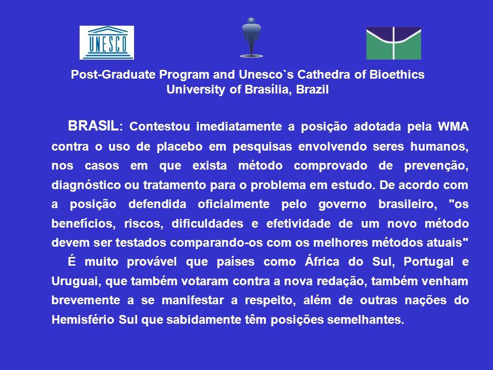 BRASIL : Contestou imediatamente a posição adotada pela WMA contra o uso de placebo em pesquisas envolvendo seres humanos, nos casos em que exista método comprovado de prevenção, diagnóstico ou tratamento para o problema em estudo.