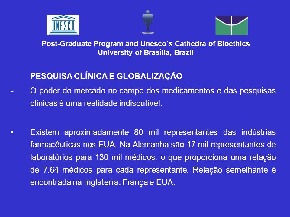 PESQUISA CLÍNICA E GLOBALIZAÇÃO -O poder do mercado no campo dos medicamentos e das pesquisas clínicas é uma realidade indiscutível.