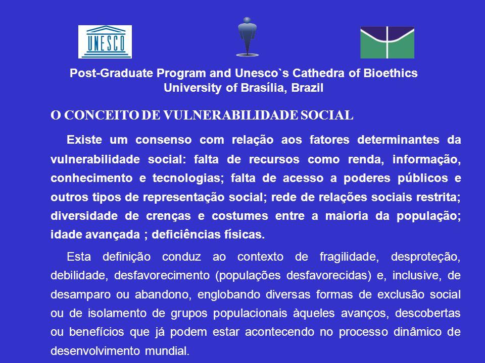 O CONCEITO DE VULNERABILIDADE SOCIAL Existe um consenso com relação aos fatores determinantes da vulnerabilidade social: falta de recursos como renda,