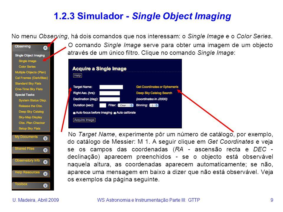 U. Madeira, Abril 2009 WS Astronomia e Instrumentação Parte III: GTTP 9 1.2.3 Simulador - Single Object Imaging No menu Observing, há dois comandos qu