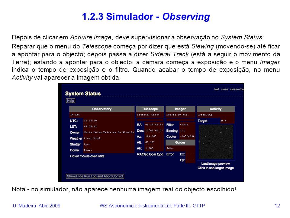 U. Madeira, Abril 2009 WS Astronomia e Instrumentação Parte III: GTTP 12 1.2.3 Simulador - Observing Depois de clicar em Acquire Image, deve supervisi