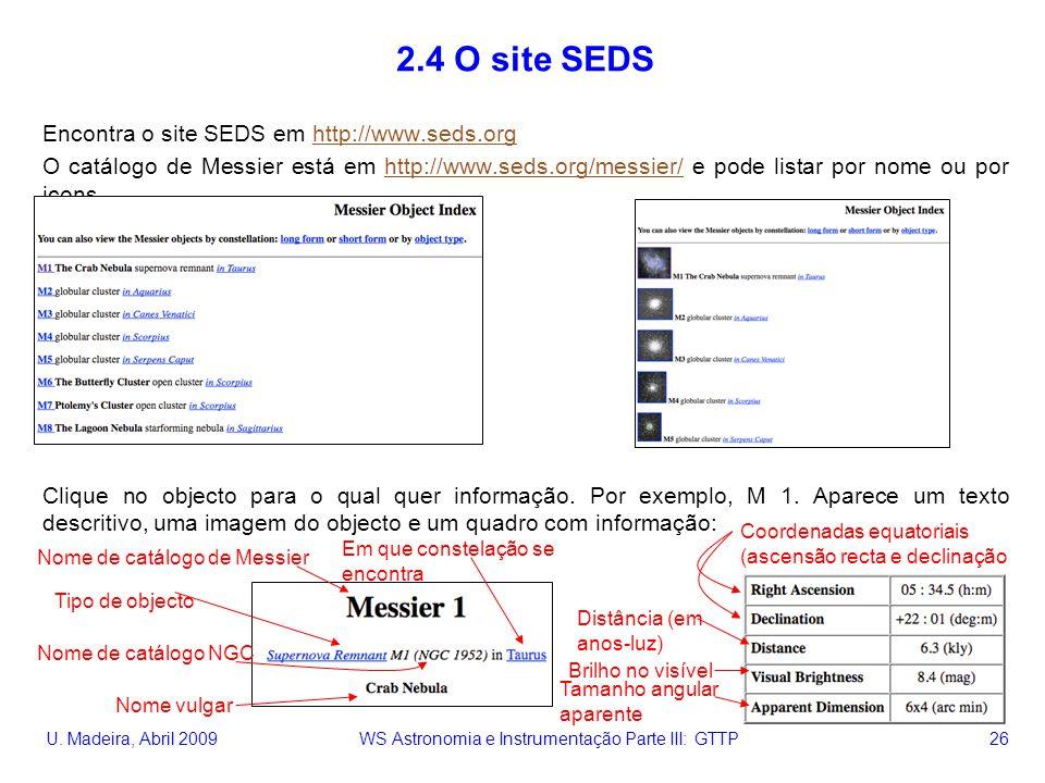 U. Madeira, Abril 2009 WS Astronomia e Instrumentação Parte III: GTTP 26 2.4 O site SEDS Encontra o site SEDS em http://www.seds.orghttp://www.seds.or