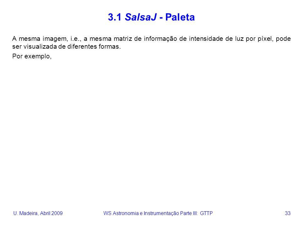 U. Madeira, Abril 2009 WS Astronomia e Instrumentação Parte III: GTTP 33 3.1 SalsaJ - Paleta A mesma imagem, i.e., a mesma matriz de informação de int