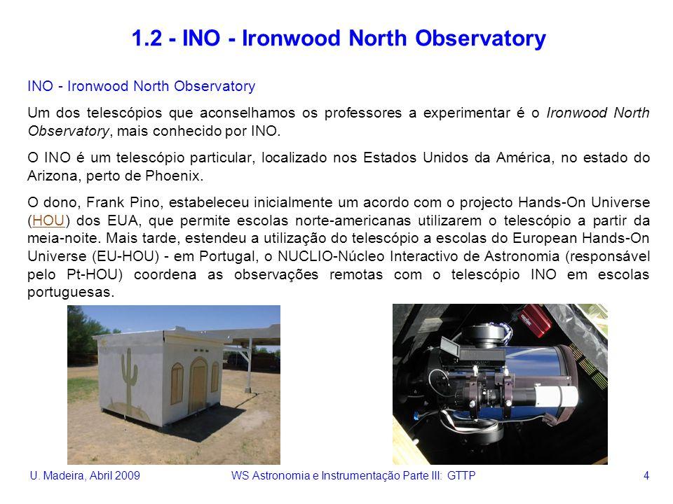 U. Madeira, Abril 2009 WS Astronomia e Instrumentação Parte III: GTTP 4 1.2 - INO - Ironwood North Observatory INO - Ironwood North Observatory Um dos