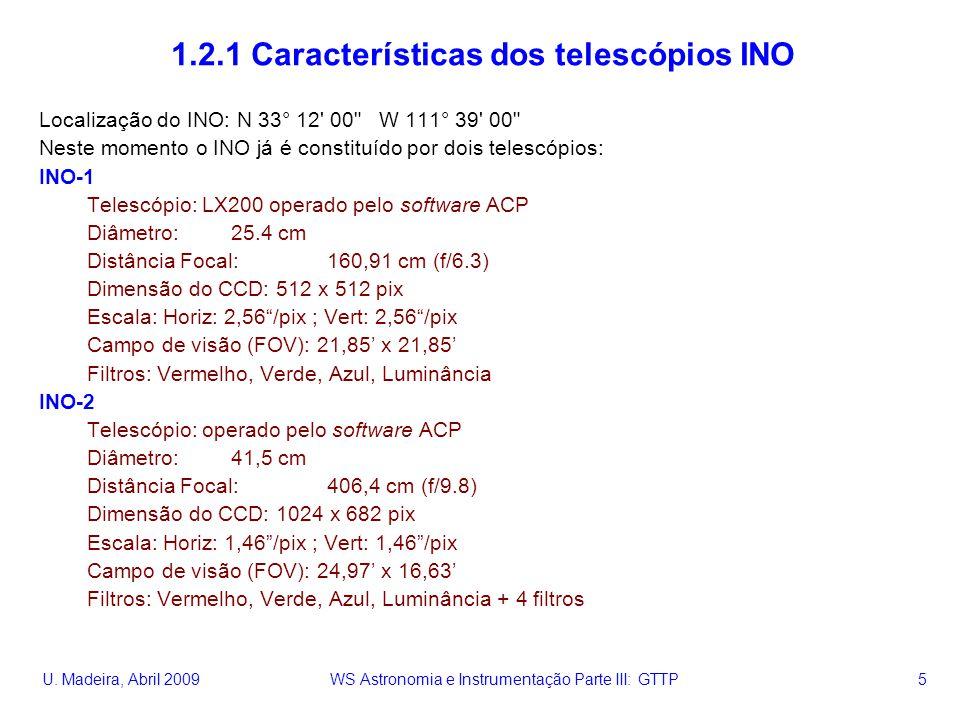 U. Madeira, Abril 2009 WS Astronomia e Instrumentação Parte III: GTTP 5 1.2.1 Características dos telescópios INO Localização do INO: N 33° 12' 00