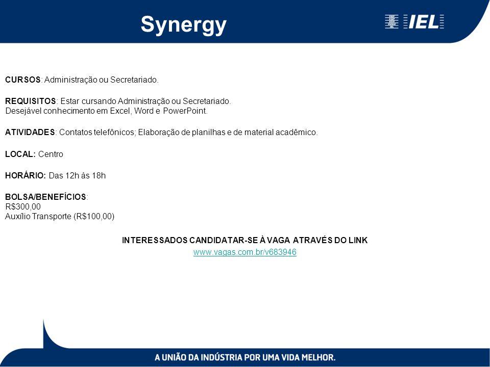 Synergy CURSOS: Administração ou Secretariado.