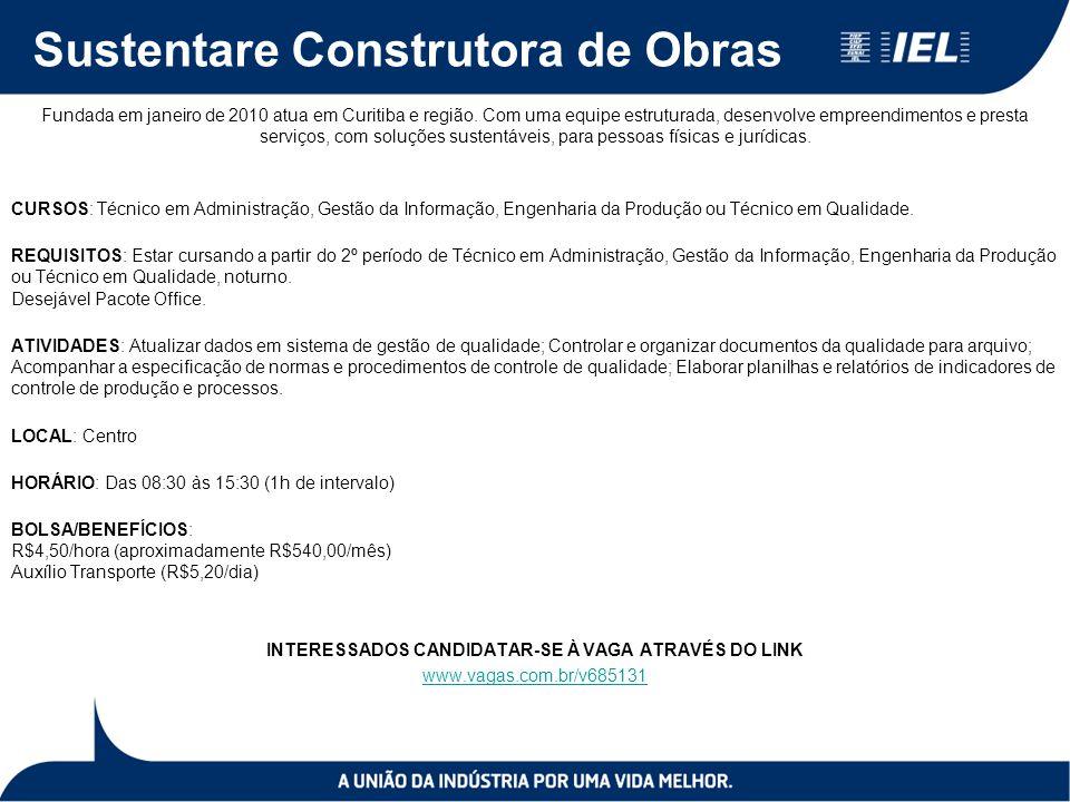 Sustentare Construtora de Obras Fundada em janeiro de 2010 atua em Curitiba e região.
