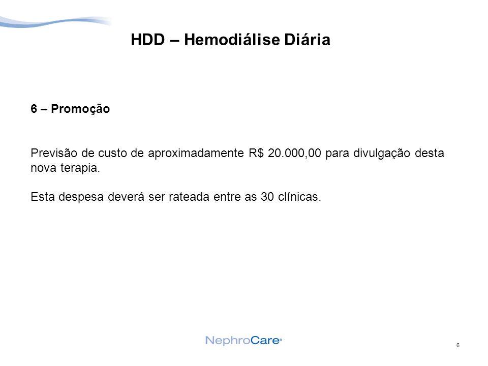 6 HDD – Hemodiálise Diária 6 – Promoção Previsão de custo de aproximadamente R$ 20.000,00 para divulgação desta nova terapia.