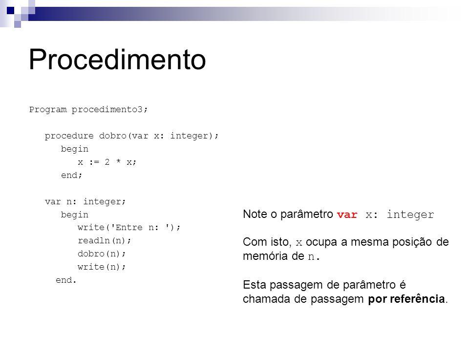 Procedimento Note o parâmetro var x: integer Com isto, x ocupa a mesma posição de memória de n.