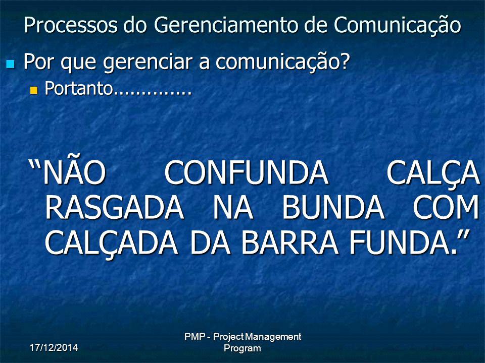 17/12/2014 PMP - Project Management Program Por que gerenciar a comunicação.