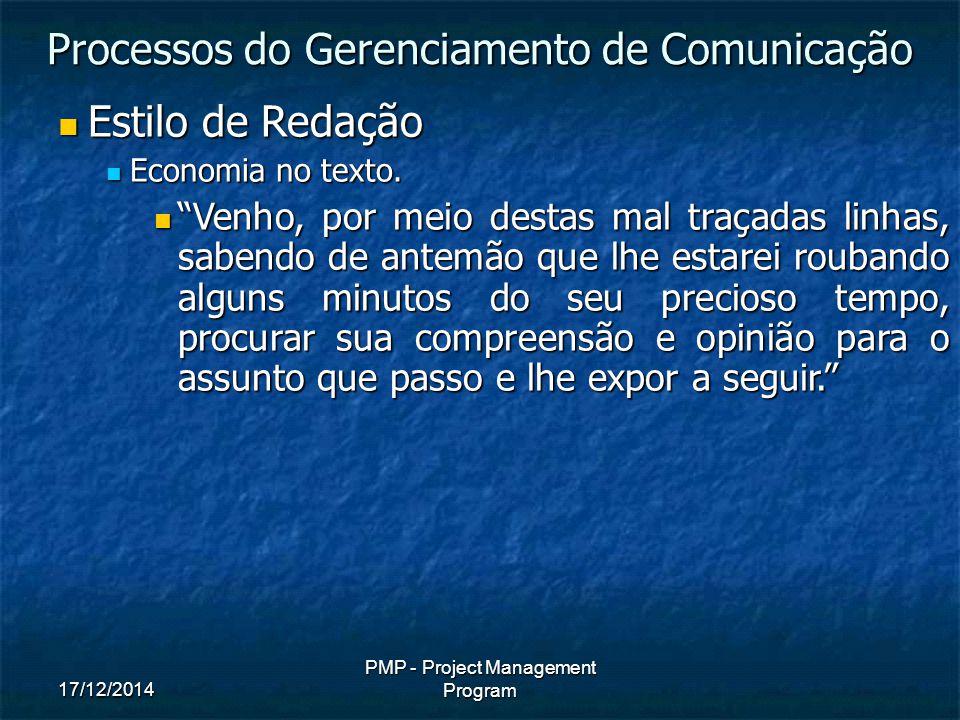 17/12/2014 PMP - Project Management Program Estilo de Redação Estilo de Redação Economia no texto.