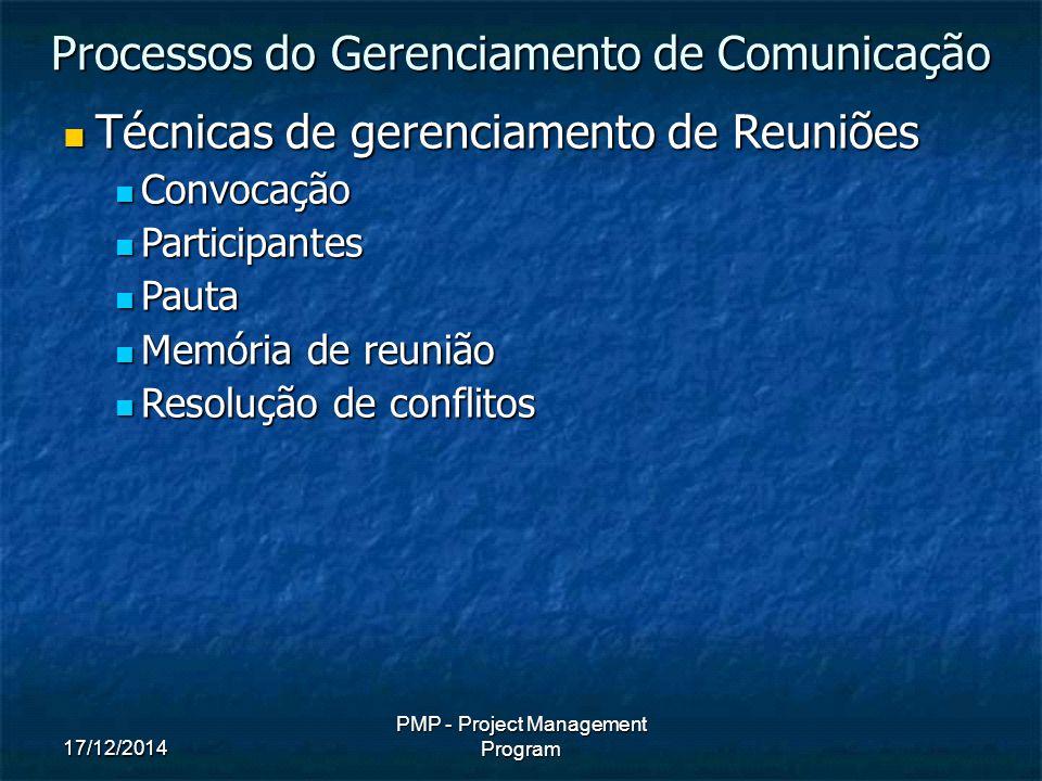 17/12/2014 PMP - Project Management Program Técnicas de gerenciamento de Reuniões Técnicas de gerenciamento de Reuniões Convocação Convocação Participantes Participantes Pauta Pauta Memória de reunião Memória de reunião Resolução de conflitos Resolução de conflitos Processos do Gerenciamento de Comunicação