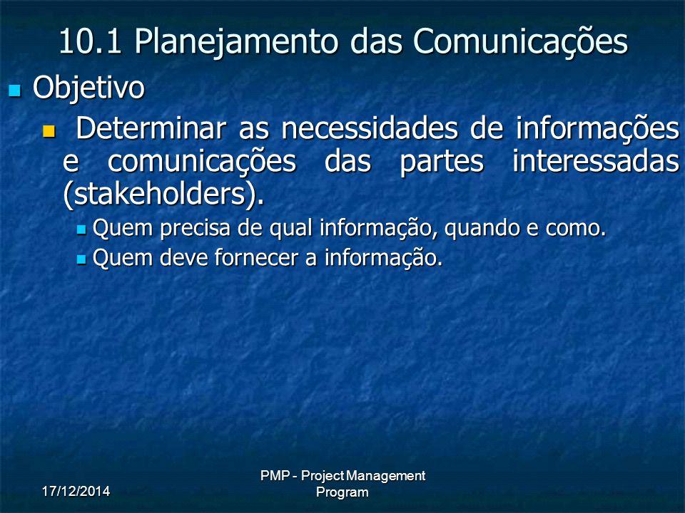 17/12/2014 PMP - Project Management Program Objetivo Objetivo Determinar as necessidades de informações e comunicações das partes interessadas (stakeholders).