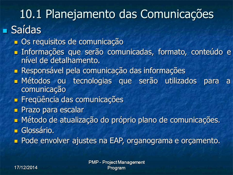 17/12/2014 PMP - Project Management Program Saídas Saídas Os requisitos de comunicação Os requisitos de comunicação Informações que serão comunicadas, formato, conteúdo e nível de detalhamento.
