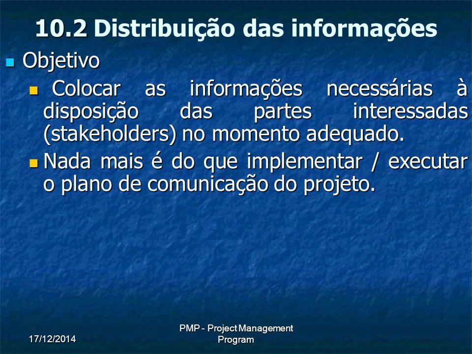 17/12/2014 PMP - Project Management Program Objetivo Objetivo Colocar as informações necessárias à disposição das partes interessadas (stakeholders) no momento adequado.