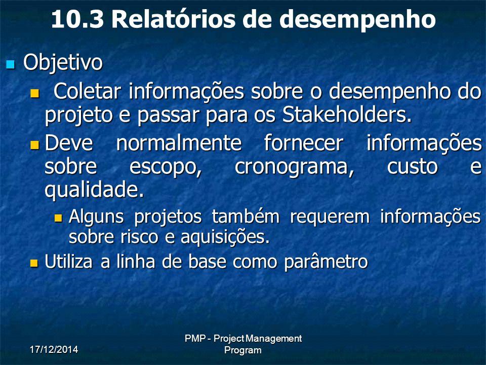17/12/2014 PMP - Project Management Program 10.3 Relatórios de desempenho Objetivo Objetivo Coletar informações sobre o desempenho do projeto e passar para os Stakeholders.