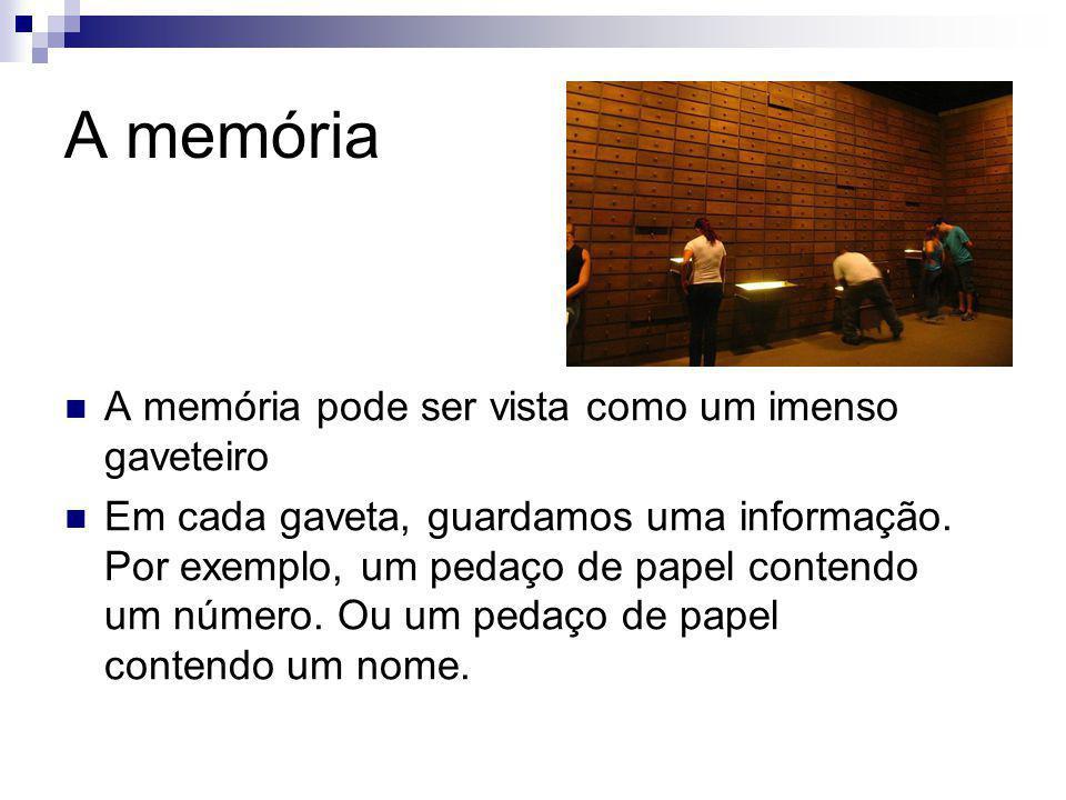 A memória A memória pode ser vista como um imenso gaveteiro Em cada gaveta, guardamos uma informação. Por exemplo, um pedaço de papel contendo um núme