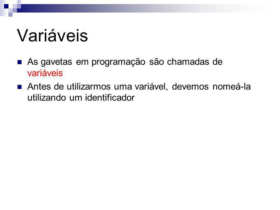 Variáveis As gavetas em programação são chamadas de variáveis Antes de utilizarmos uma variável, devemos nomeá-la utilizando um identificador