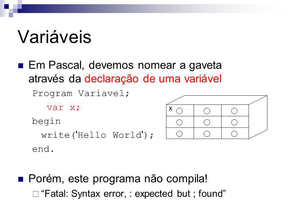 Variáveis Em Pascal, devemos nomear a gaveta através da declaração de uma variável Program Variavel; var x; begin write( ' Hello World ' ); end. Porém